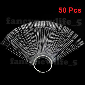 50 Clear False Nail Art Tip Stick Display Fan DIY Polish Practice Colour Design
