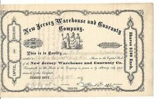 NEW JERSEY WAREHOUSE AND GUARANTY COMPANY.....1879 STOCK CERTIFICATE