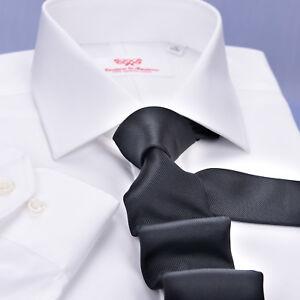 White Twill Fade Formal Business Dress Shirt Best Work Button Cuff Chest Pocket