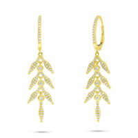 0.47 CT 14K Yellow Gold Natural Round Diamond Dangle Drop Leaf Leaves Earrings