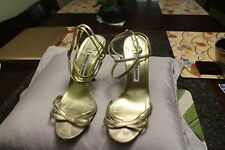 Manolo Blahnik gold  ankle wrap high heel Sandals  38 us sz 8