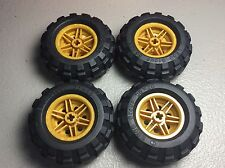 New LEGO Pearl Gold Wheels 30.4x 20mm Wheel - 56mm x 26mm BalloonTires (x4)