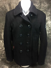 Superdry Pea Coat Men's Black Small NWOT 100% Polyester Big Buttons