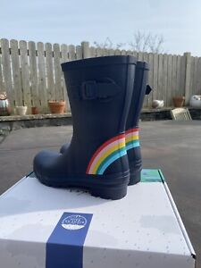 Joules Size 6 Navy With Beautiful Rainbow Molly Mid Height Wellies 🌈🌈🌈