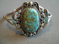 Native American Indian Aqua Turquoise Sterling Silver Bracelet Picto-Signed
