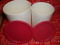 Lot (2) Vintage Tupperware Pink Lid White Container #2422A + #2420A VGUC     291
