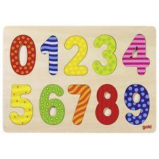 Zahlen Puzzle gemustert von  0 bis 9 von goki 30 x 21 x 0,8 cm aus Holz