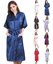 Hot Long Women Robe Silk Satin Wedding Bridesmaid Bride Gown Kimono Sleepwear