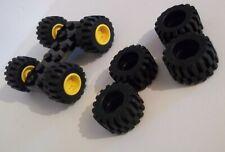 4x LEGO yellow wheel  6014b - 4x tire 87697 - 2x plate 6157 - plus 4x 6015