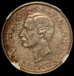 1910-H Sarawak 10 Cents Silver Coin - NGC AU 53 - KM# 9