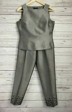 ANN TAYLOR Silk Embellished Grey 2-Piece Suit Set- Cropped Pants & Top - Size 4