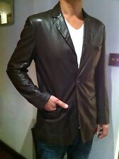 JIL SANDER  Brown Light Weight Leather Jacket size Eu 50 ... UK 40 Chest