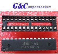 5PCS  ATMEGA328P-PU  DIP28 ATMEL ATMEGA328P  NEW DATE CODE +DIP SOCKET