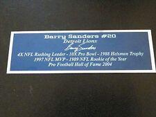 Barry Sanders Autograph Nameplate Detroit Lions Helmet Photo Football Jersey