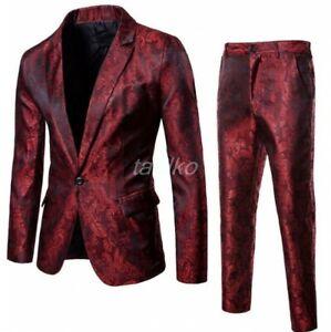 2 Piece Men Slim Fit Shiny Blazer+Pants Suits Coats One Botton Lapel Nightclub L