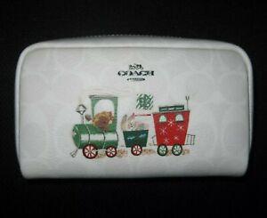 NEW  COACH Boxy Cosmetic Case Signature Train Design