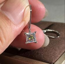 Earring Solid 14K Rose Gold Finish 4Ct Princess Cut Vvs1/D Diamond Drop/Dangle