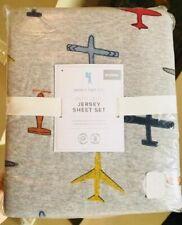 Pottery Barn Kids Jersey In Flight Sheet Set Gray Queen Airplane Aviation