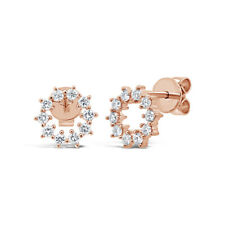 0.33 CT 14K Rose Gold Natural Round Cut Diamond Circle O Halo Stud Earrings
