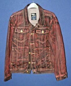 men's large denim jacket red stone stonewashed classic DENIM cut and style large