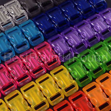 """Mix of 100 3/8"""" Transparent Buckles - 9 Colors - for Paracord Bracelets - Jelly"""