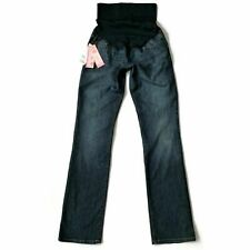 Liz Lange Maternity Jeans Size 2 27 x 33 Straight Pull-on Blue Dark Denim NWT