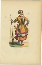 Antique Print of a Circassian Soldier by Wahlen (1843)