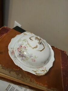 Vintage Limoges France -C Ahrenfelot -Butter Dish - Gilt Trim & Pink Roses