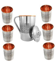 Steel & Inside Copper Dual Walled Embossed Design 1500 ML Jug & 6 Glass Set-UK