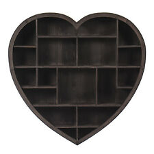 Large Wooden Rustic Heart Wall shelf Vintage Style  New 79CM 18 Compartments