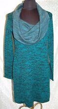Soft Surroundings Donna Abito in Maglia M Misto Lana collo a Cappuccio Blu Verde