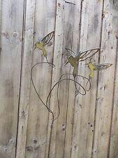 Metal Yard Art Garden Stake Sculpture W/ 3 Hummingbirds