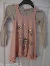 Girls 2 piece Pink Butterfly Tunic Top / Long Sleeve Beige T Shirt