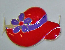 QTY 4 RINGS  RED HAT SHAPED PURPLE ENAMEL SILVERTONE  RED HAT LADIES OF SOCIETY