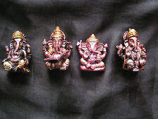 Set of 4 Figurines Statues Hindu Elephant God Lord Ganesha Ganesh Ganapati