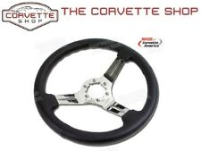 C3 Corvette Black Leather Steering Wheel w/3 Chrome Spokes 1968-1982 x2502