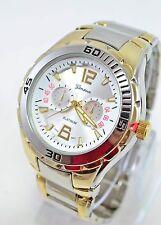 Men's Gold silver Oyster Style Round Geneva PLATINUM Wrist Watch NEW #v874