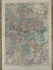More details for 1886 london (east) antique hand coloured city plan by g.w. bacon
