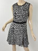 MILLY New York Black/White Snow Leopard Animal Print Silk Fit & Flare Dress 6/8