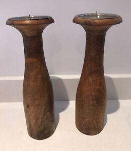 "Pair Solid Wood Pillar Candle Sticks Church Oak 12"""