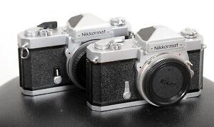 WORKING NIKON Nikkormat early FT + late version FTN 35mm vintage film cameras!