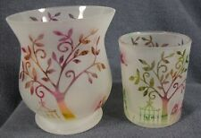 Yankee Candle Enchanted Garden Lot of 2 Votive Holders Iridescent Frosted Glass