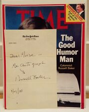 """Russell Baker Author Signed Autographed 5.5"""" X 8.5"""" Paper"""