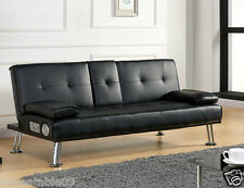 Chrome Legs Sofa Bed Faux Leather Cupholder 3 Seater in Black Home Office Style