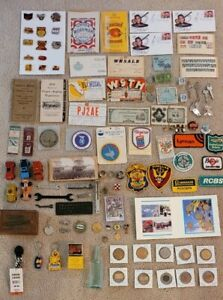 Vtg Antique Uncle Joe's Junk Drawer Coins, Stamps, Currency, Tokens, Pins ++++++