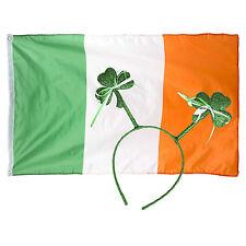 Green Glitter Ribbon Shamrock St Patrick's Day Headband & Ireland Flag