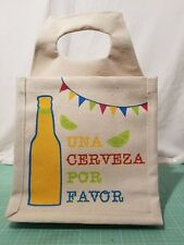 "Sturdy Canvas 6 Pack Beer or Bottle Holder - ""Una Cerveza Por Favor"" - Very Cute"