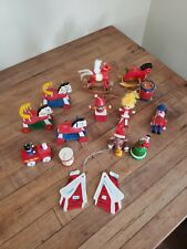 15 Vintage Wood Christmas  Ornaments Doll Soldier Train Rocking Horse