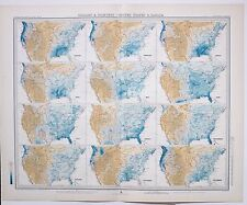 1899 LARGE WEATHER METEOROLOGY MAP ISOBARS & ISOHYETS UNITED STATES & CANADA