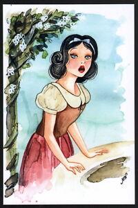 Megan Withey SIGNED Mini Walt Disney Art Print ~ Snow White & The Seven Dwarfs